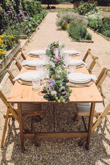 Outdoor Tablescape  with Succulent Vegetables & Floral Table Runner | Pastel Peter Rabbit Spring Inspiration at River Cottage | Beatrix Potter | Mr McGregor's Garden | Jennifer Jane Photography