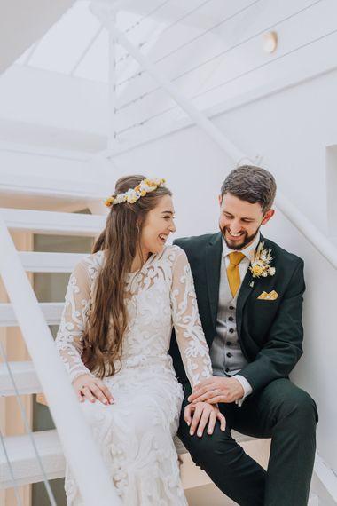 Phase Eight long sheer sleeve appliqué detailed wedding dress