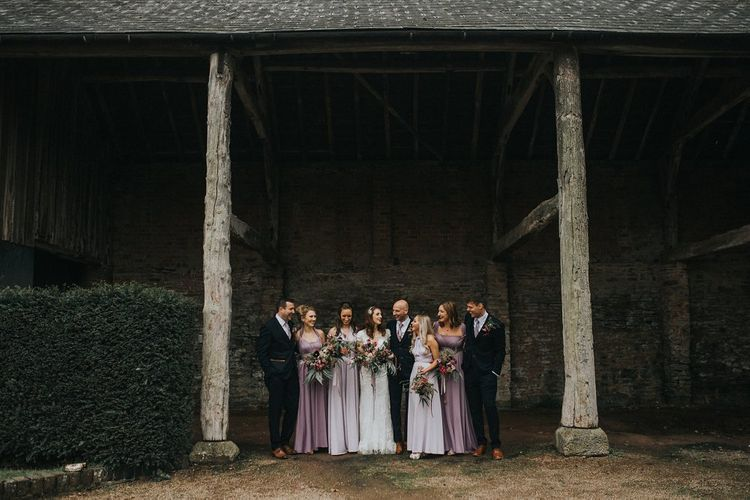 Wedding Party | Bridesmaids in Lilac & Purple Multiway Dresses | Bride in Lace Lusan Mandongus Wedding Dress | Groomsmen in Navy Marc Darcy Three-Piece  Suits | Vintage Dewsall Court Wedding | Kerry Diamond Photography