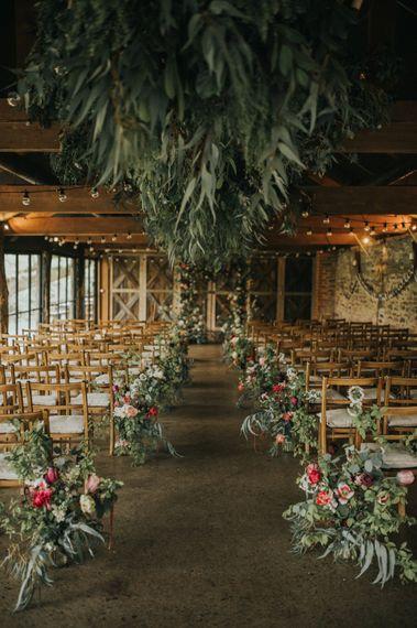 Greenery Installation & Aisle Wedding Flowers | Vintage Dewsall Court Wedding | Kerry Diamond Photography