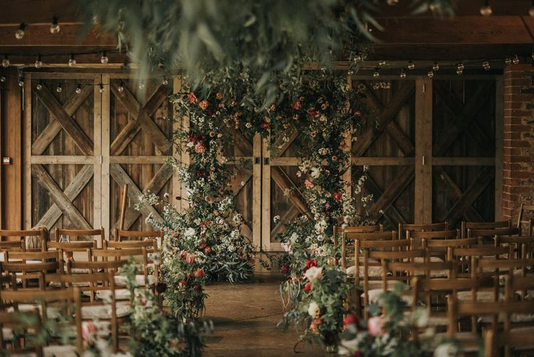 Floral Arch & Aisle Flowers | Vintage Dewsall Court Wedding | Kerry Diamond Photography