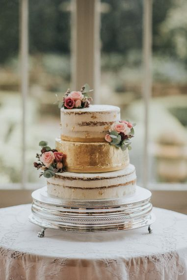 Semi Naked Wedding Cake with Gold Leaf Tier | Vintage Dewsall Court Wedding | Kerry Diamond Photography