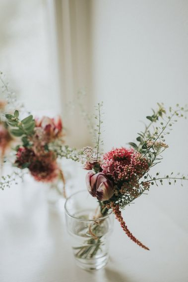 Buttonholes with Wild Flowers | Vintage Dewsall Court Wedding | Kerry Diamond Photography