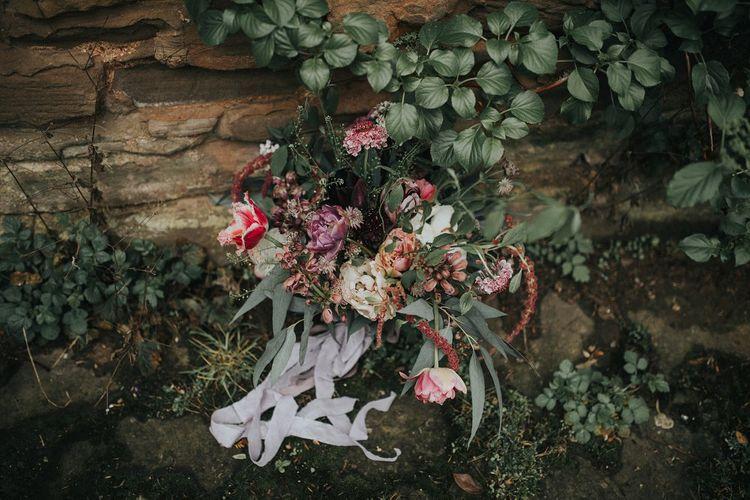 Jewel Coloured Organic Bridal Bouquet with Ribbon | Vintage Dewsall Court Wedding | Kerry Diamond Photography