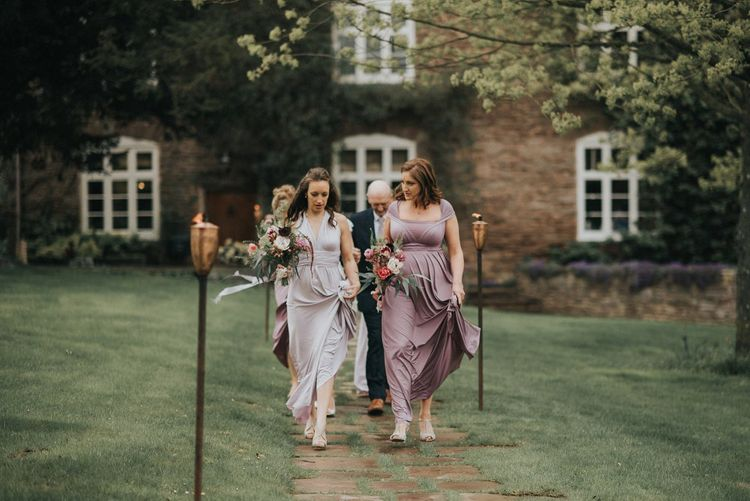 Bridesmaids in Lilac & Purple Multiway Dresses | Vintage Dewsall Court Wedding | Kerry Diamond Photography
