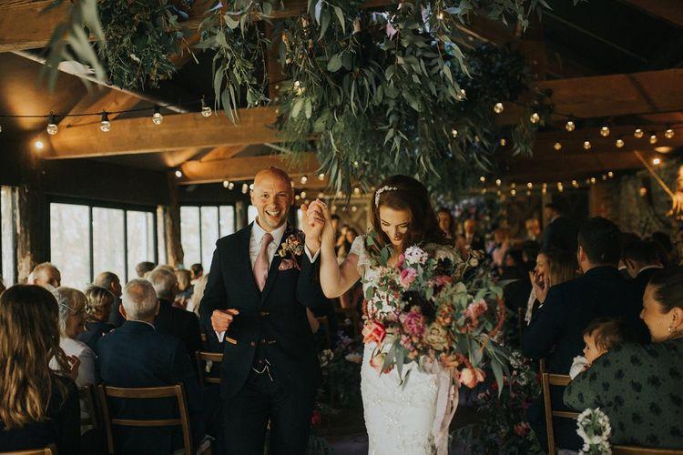 Humanist Wedding Ceremony | Bride in Lace Lusan Mandongus Wedding Dress | Groom in Navy Marc Darcy Three-Piece  Suit | Vintage Dewsall Court Wedding | Kerry Diamond Photography