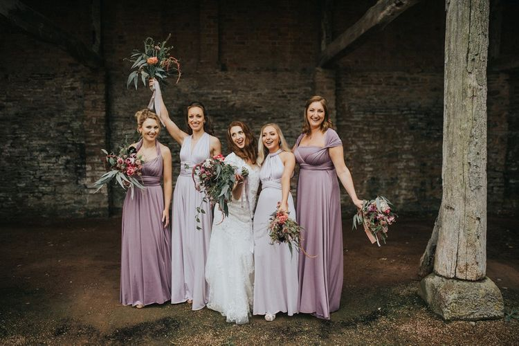 Bridal Party | Bridesmaids in Lilac & Purple Multiway Dresses | Bride in Lace Lusan Mandongus Wedding Dress | Vintage Dewsall Court Wedding | Kerry Diamond Photography