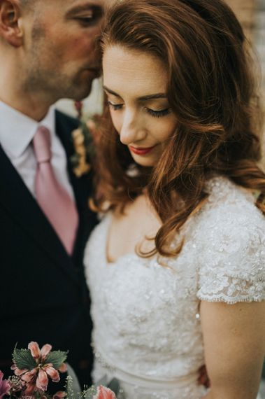 natural Bridal Makeup | Bride in Lace Lusan Mandongus Wedding Dress | Groom in Navy Marc Darcy Three-Piece  Suit | Vintage Dewsall Court Wedding | Kerry Diamond Photography