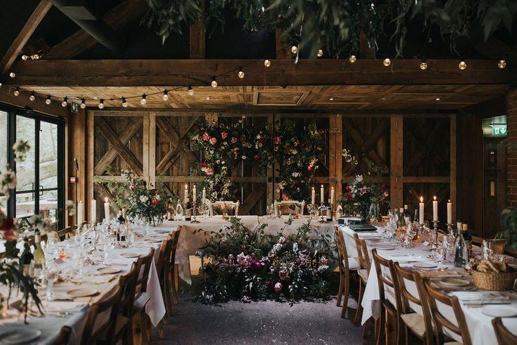 Top Table Wedding Reception Decor | Floral Arch & Installation | Vintage Dewsall Court Wedding | Kerry Diamond Photography