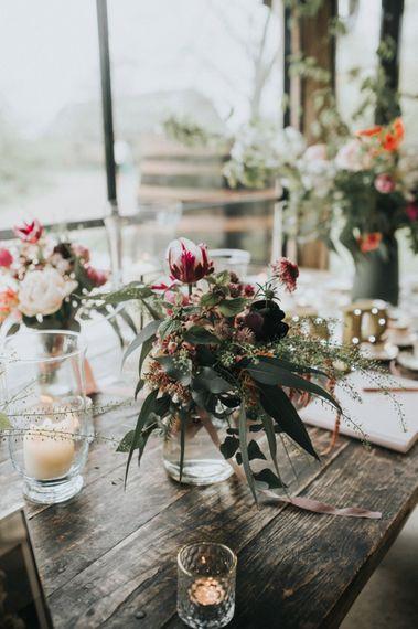 Flower Stems in Vases Wedding Decor | Vintage Dewsall Court Wedding | Kerry Diamond Photography