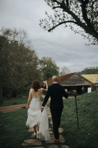 Bride in Lace Lusan Mandongus Wedding Dress | Groom in Navy Marc Darcy Three-Piece  Suit | Vintage Dewsall Court Wedding | Kerry Diamond Photography