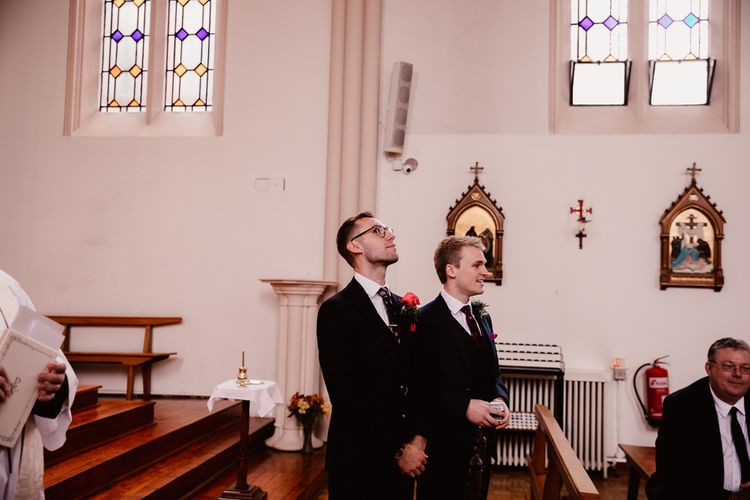 Groom Awaits Bride At Church Ceremony