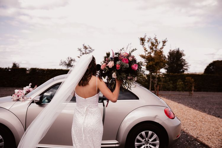 Bride Carries  Pink Bouquet With Long Veil For Primrose Hill Farm Wedding