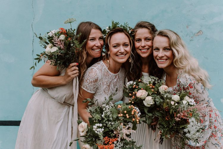 Bridesmaids In White Dresses // Getting Married In France // Legal Ceremony At Local Mairie // Planning & Styling By French Bague-ette // Image By Marine Marques