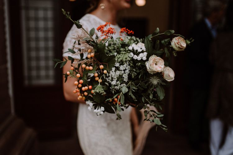 Late Summer Bouquet With Berries And Foliage // Getting Married In France // Legal Ceremony At Local Mairie // Planning & Styling By French Bague-ette // Image By Marine Marques