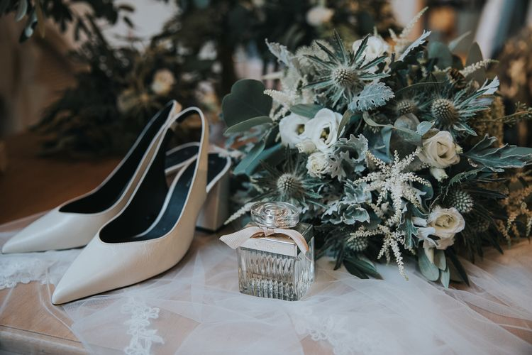 Bridal Shoes, Perfume and Bouquet