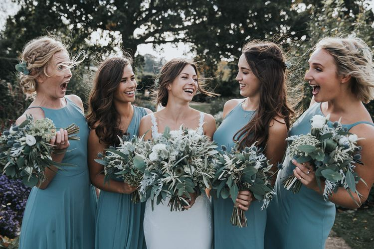 Bridal Party Portrait with Bridesmaids in Green Dessy Dresses