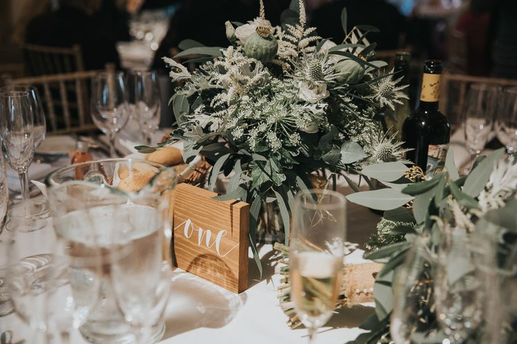 Foliage Table Centrepiece with Wooden Table Number Sign