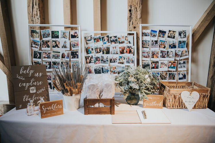 Flip Flops, Sparklers and Polaroid Picture Guest Book Station
