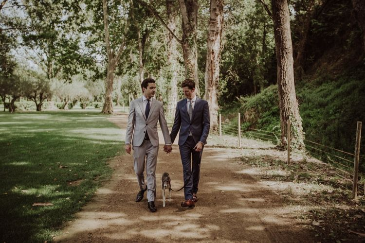 Two Grooms & Their Pet Dog | Woodland Wedding at Sa Farinera de Sant LLuis Wedding Venue, Catalan Empordà, Spain | Planned & Styled by Mille Papillons | HUMà06 Photography | HUMà06 Photography