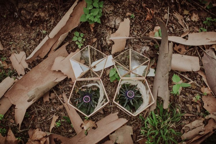 Geometric Wedding Ring Boxes | Outdoor Woodland Wedding at Sa Farinera de Sant LLuis Wedding Venue, Catalan Empordà, Spain | Planned & Styled by Mille Papillons | HUMà06 Photography | HUMà06 Photography