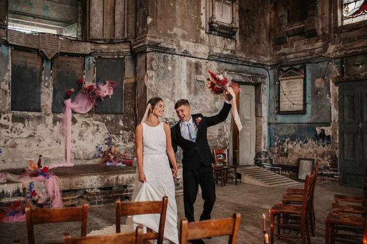 Bride and Groom Just Married at the Asylum Wedding Venue