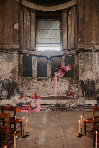 Asylum Chapel Wedding Inspiration  with Pink Flowers and Decor