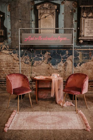 Retro Seating Areas with Pink Phone, Neon Sign and Velvet Chairs