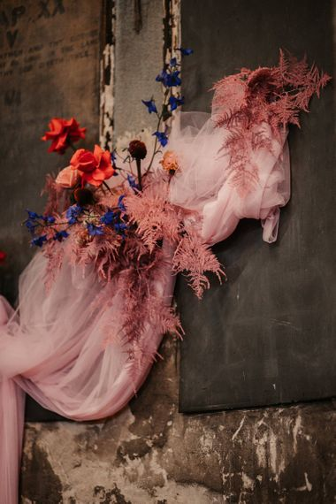 Pink Drapes and Flowers Wedding Altar Decor