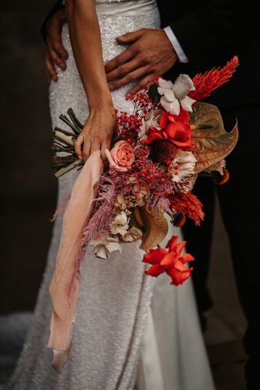 Modern Bouquet with Anthurium and  Astilbe Flowers