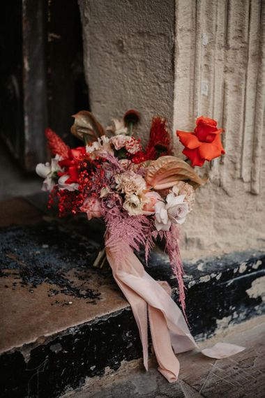 Pink and Red Wedding Bouquet with Anthurium and  Astilbe Flowers