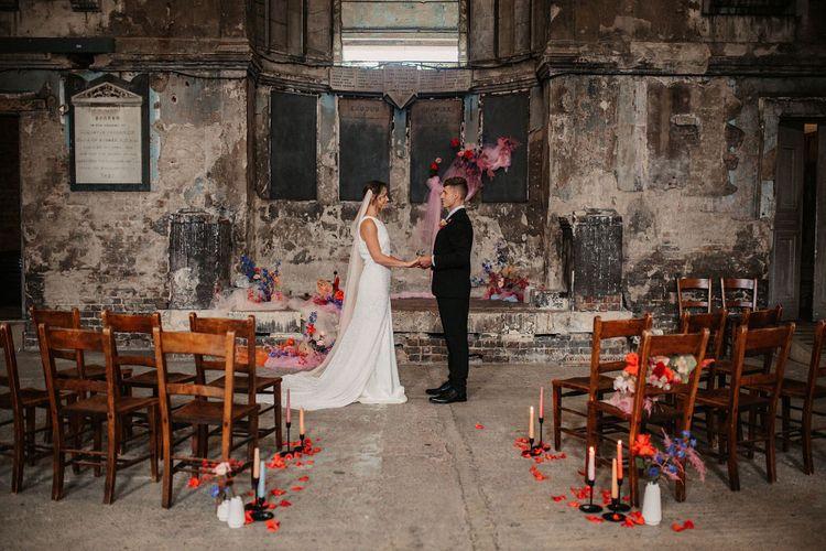 Elopement Wedding Ceremony with pink wedding jacket