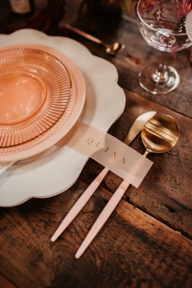 Vellum Name Place Setting and Pink Cutlery