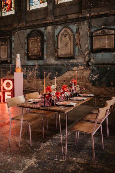 Table Scape in Industrial Wedding Venue