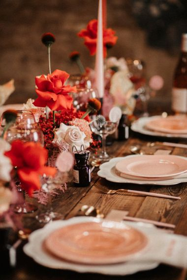Pink Table Decor with Pink Plates and Cutlery
