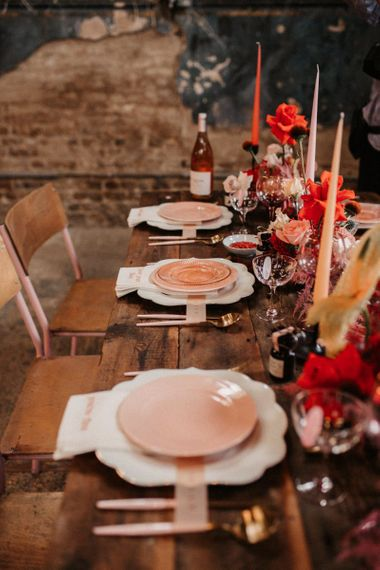 Rustic Table Decor with Luxury Pink Tableware, Candles and Flowers