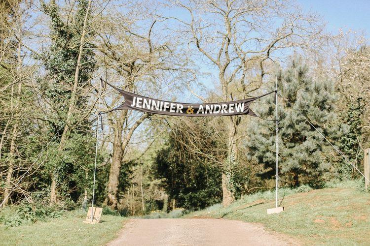 Welcome Banner // Handmade Details // Entertainment // Charlie Brear Bride // Pimhill Barn, Shrewsbury // Belle and Beau Fine Art Wedding Photography