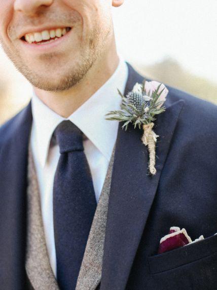 Thistle Buttonhole // Handmade Details // Entertainment // Charlie Brear Bride // Pimhill Barn, Shrewsbury // Belle and Beau Fine Art Wedding Photography