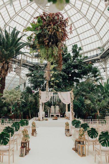 Botanical, Aisle Decor with Indian Mandap Wedding Ceremony Altar