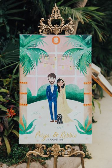 Water Colour Bride and Groom Illustration Wedding Sign