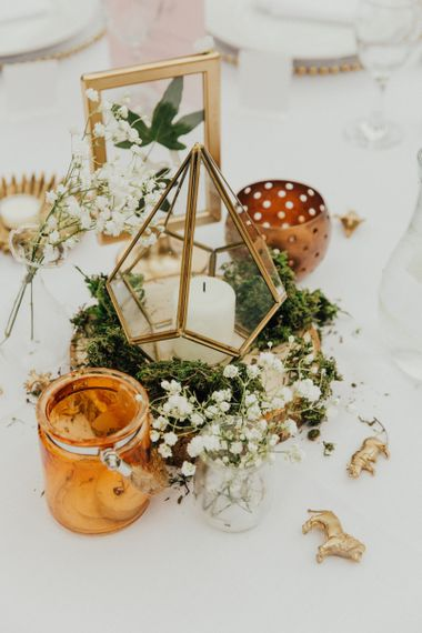 Gold Terrarium Centrepiece with Gypsophila and Candle Decor