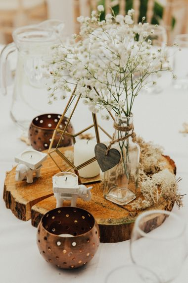 Rustic Tree Slice Centrepiece with Terrarium and Gypsophila in a Bottle