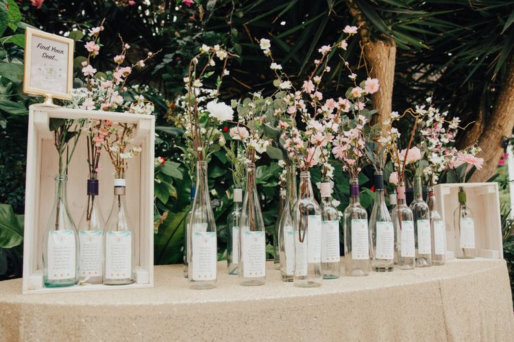 Wine Bottle Table Plan with Flower Stems
