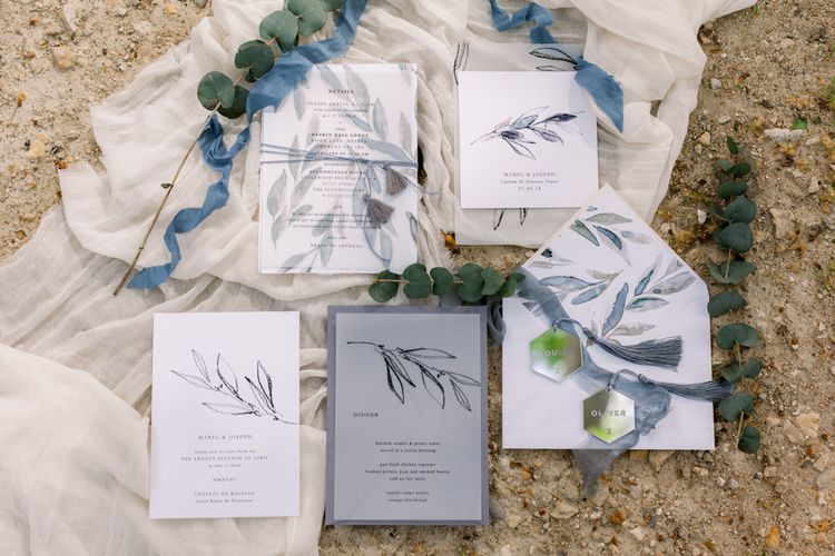 Olive Leaf Motif Stationery Suite // Chateau De Roussan St Remy Provence Wedding Venue With Joanne Flemming Dresses Fine Art Images From Jo Bradbury Photography