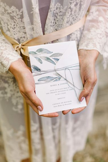 Olive Leaf Motif Wedding Stationery // Chateau De Roussan St Remy Provence Wedding Venue With Joanne Flemming Dresses Fine Art Images From Jo Bradbury Photography