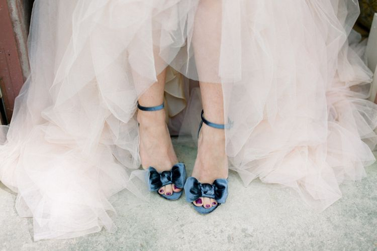 Something Blue Wedding Shoes // Chateau De Roussan St Remy Provence Wedding Venue With Joanne Flemming Dresses Fine Art Images From Jo Bradbury Photography