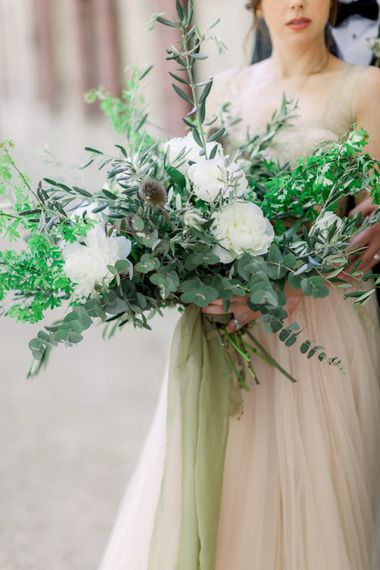 White Flower & Foliage Wedding Bouquet // Chateau De Roussan St Remy Provence Wedding Venue With Joanne Flemming Dresses Fine Art Images From Jo Bradbury Photography