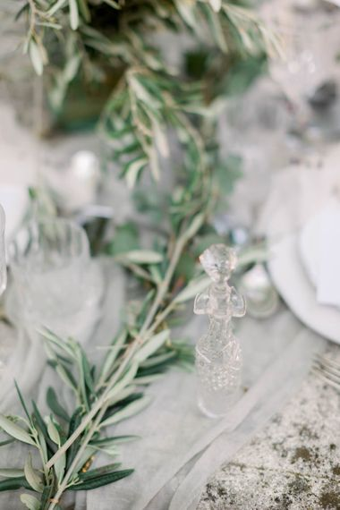 Olive Branch Runner For Wedding Table // Chateau De Roussan St Remy Provence Wedding Venue With Joanne Flemming Dresses Fine Art Images From Jo Bradbury Photography