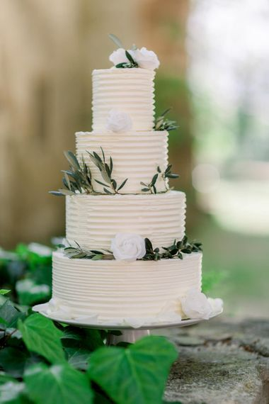 Buttercream Wedding Cake For Destination Wedding // Chateau De Roussan St Remy Provence Wedding Venue With Joanne Flemming Dresses Fine Art Images From Jo Bradbury Photography