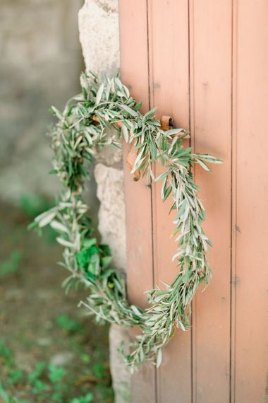 Olive Branch Wreathe For Wedding // Chateau De Roussan St Remy Provence Wedding Venue With Joanne Flemming Dresses Fine Art Images From Jo Bradbury Photography